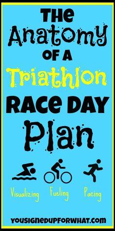 The Anatomy of a Triathlon Race Day Plan. Swim bike run. Swimming cycling running. Fitness tips. Triathlon tips and strategy.