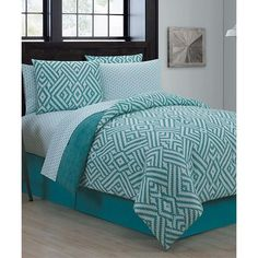 Geneva Home Fashions Navy & Teal Kennedy Eight-Piece Comforter Set ($72) ❤ liked on Polyvore featuring home, bed & bath, bedding, comforters, navy shams, navy blue comforter sets, patterned pillow cases, navy blue pillow shams and 8 pc comforter set