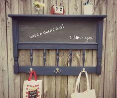 Chalkboard paint coat rack!