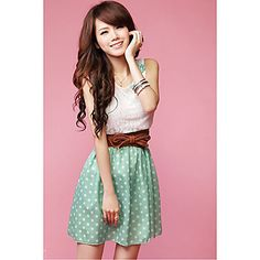 Dots Design Ladies' Contrast Color Sleeveless Dress – AUD $ 14.02