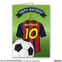 Soccer Football Red Blue Stripe Shirt Birthday Card