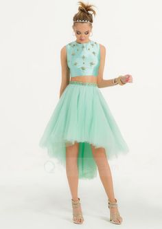 Beaded Satin Bodice Tulle Prom High Low Dress Two Piece Homecoming Dress