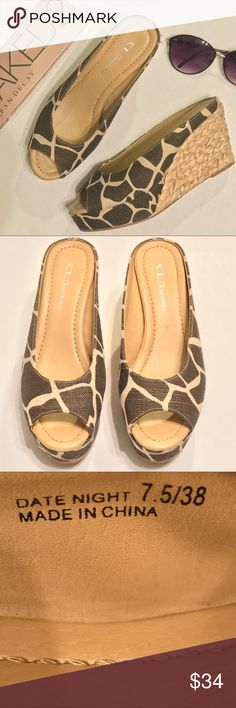 """Chinese Laundry """"Date Night"""" zebra print wedges Chinese Laundry """"Date Night"""" woven straw platform slide on wedges. Brown and cream zebra print with a gold shimmer. Size 7.5. EUC, excellent used condition. 1"""" platform, 3 1/2"""" wedge. Chinese Laundry Shoes Wedges"""