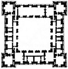 plan of Chateau of Ancy-le-Franc, by Serlio Architectural Floor Plans, Architectural Drawings, Renaissance Architecture, Fortification, Architecture Plan, Layout, How To Plan, Conan Exiles, Minecraft Ideas