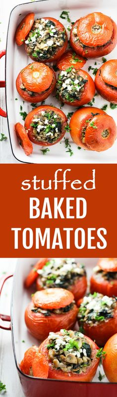 These baked tomatoes are stuffed with mushrooms, garlic, spinach, and feta. They can be served as an appetizer, side dish, or main dish. Very easy to make.