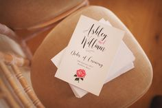 Order of Ceremony Modern Calligraphy English Rose Elegant DIY Country Manor Wedding http://www.bengoode.com/ #wedding #stationery #orderofservice #floral