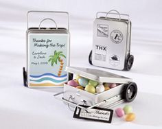 small suitcase with candy for destignation weddings
