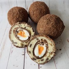 These scotch cream eggs are a fantastic and yummy idea to get both your chocolate and cookie dough fix . Edible Cookies, Edible Cookie Dough, Creamed Eggs, Scotch, Chocolate, Breakfast, Instagram, Food, Morning Coffee