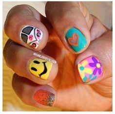 these are perf. Hippie Nail Art, Hippie Nails, Garra, Rave Nails, Hair And Nails, My Nails, Sassy Nails, Chic Nails, Toe Nail Designs