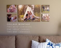 Canvas Wall Collage above couch Family Pictures On Wall, Large Family Photos, Display Family Photos, Displaying Wedding Photos, Hanging Family Photos, Photo Hanging, Children Pictures, Wall Photos, Canvas Wall Collage