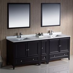 "Fresca Oxford 84"" Espresso Traditional Double Sink Bathroom Vanity"
