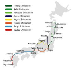 Shinkansen: Japan's Skyrocket Bullet Train: I love maps. This uncluttered route map helps me understand where the major cities in Japan are. #Map #Shikansen #Japan_Bullet_Train