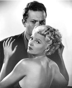 """Orson Welles & wife Rita Hayworth on the set of """"The Lady From Shanghai"""" [1947]"""