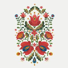 Folk Embroidery Design Such pretty symmetry. Hungarian Embroidery, Folk Embroidery, Embroidery Patterns, Folk Art Flowers, Flower Art, Bordado Popular, Diy Broderie, Polish Folk Art, Scandinavian Folk Art