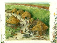 Reconstruction drawing of round houses in the quarry hollow behind the rampart during the century BC. - Similar to the round houses Bedwyr speaks of 'The Silurian' book home of the Selgovae king, Garwy Hir Primary History, Celtic Nations, Primitive Survival, Classical Antiquity, Round House, Iron Age, Ancient Architecture, Dark Ages, Ancient Egypt