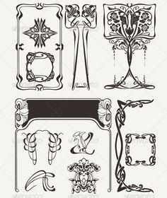 Set of Vintage Art Deco Design Elements - Miscellaneous Characters