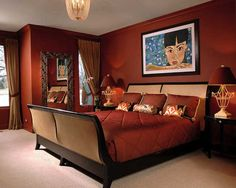 Asian Contemporary - asian - bedroom - chicago - Interiors by Mary Susan Asian Style Bedrooms, Asian Bedroom, Bedroom Styles, Bedroom Colors, Bedroom Ideas, Bedroom Designs, Modern Master Bedroom, Red Bedding, Asian Home Decor
