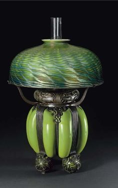 Tiffany Studios, New York, Favrile Glass and Patinated Bronze Lamp.