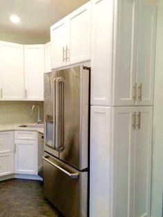 Maximizing space in NYC small kitchen. #small kitchen #kitchendesign #whitekitchen #kitchenremodel Traditional Cabinets, Kitchen Cabinets, Kitchen Appliances, Nyc, French Door Refrigerator, French Doors, Tall Cabinet Storage, Kitchen Design, Furniture