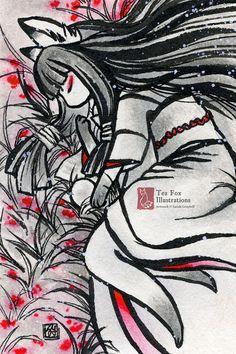 Such Solitude / Kitsune Fox Girl Yokai / Japanese Style Art / 4x6 Fine Art Print Matte Gloss