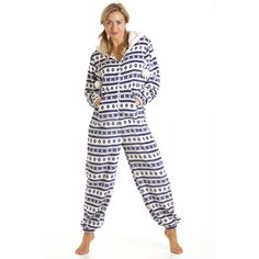 ff2ea6f0d73 Camille Womens Ladies Blue And White Luxury Fairisle Hooded Onesie 1416  BLUE     Read