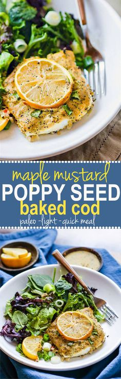 Maple mustard poppy seed baked cod - Super simple maple mustard poppy seed sauce that is the perfect pair with baked cod! A Quick, Healthy, A light low calorie and Paleo friendly meal that's equally delicious!