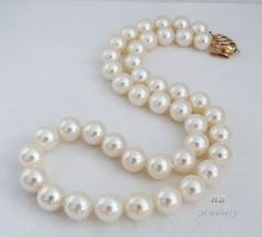 "HS #Japanese #Akoya Cultured #Pearl 10mm #Necklace 17.75"" #18K w/ #Diamonds Top #Jewelry #Valentine #Anniversary"