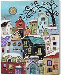 Metaverse Winter City By Karla Gerard Canvas ArtWinter City Canvas Print by Karla Gerard. All canvas prints are professionally printed, assembled, and shipped within 3 - 4 business days and delivered ready-to-hang on your wall. Karla Gerard, Counted Cross Stitch Kits, Canvas Artwork, Beautiful Artwork, Art Lessons, Home Art, Cross Stitch Patterns, Cross Stitches, Art For Kids