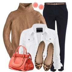 Navy, Tan & Coral by wishlist123 on Polyvore featuring J.Crew, maurices, Wallis, Chloé, Liz Law, leopard, jcrew, LeopardFlats, waystowear and WhiteDenimJacket