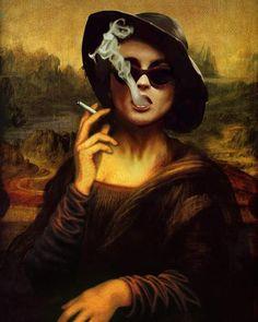 Collage Art by FailunFailunMefailun. FailunFailunMefailun is a Turkish artist who blends the old and the new. Erhan Atay assumed FailunFailunMefailun Surrealista Collage Art by FailunFailunMefailun Monalisa Wallpaper, La Madone, Mona Lisa Parody, Arte Pop, Fight Club, Funny Art, Surreal Art, Aesthetic Art, Art Inspo