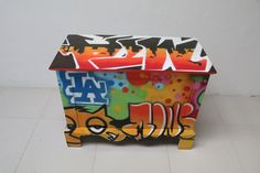 #Baul # Graffiti # Muebles NOMAD MEXICO . This is a solid mahogany chest painted by a street artist from Guadalajara. Great # accent piece in NOMAD Muebles  Mexico