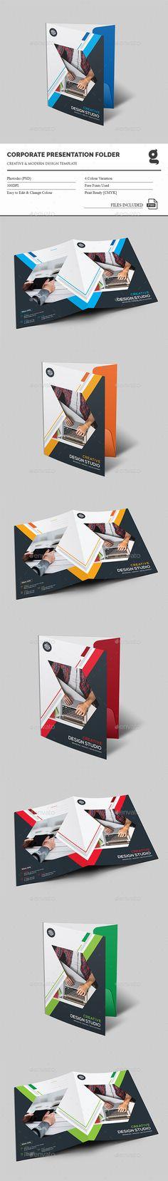 Presentation Folder Design Template - Stationery Print Template PSD. Download here: http://graphicriver.net/item/presentation-folder/16428744?s_rank=64&ref=yinkira