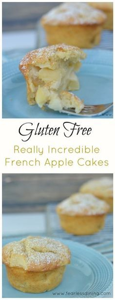 These mouthwatering Gluten Free French Apple Cakes are the best. It is so easy to make gluten free pastry. Fresh apple makes these gluten free apple cakes a family-favorite. Gluten Free Apple Cake, Gluten Free Pastry, Gluten Free Sweets, Gluten Free Cakes, Gluten Free Cooking, Dairy Free Recipes, Gluten Free Deserts Easy, Gluten Free Biscotti Recipe, Sugar Free Apple Cake
