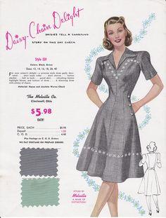 Vintage Fashion Advertising Woman's Dress Black & White Check 1950's Great Frameable Art. $19.43, via Etsy.