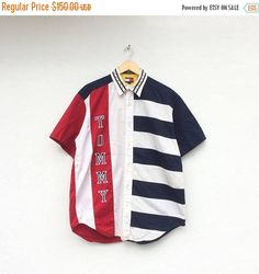 3fb25087 Tommy Hilfiger Colourblock Vintage Polo Shirt / Vintage Tommy Stripe Oxford  Shirt / Size Large