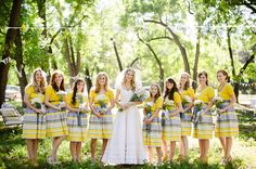 Perfect 40 Striped Wedding Ideas For a more casual wedding. A great idea for bride's maids dresses. Striped Bridesmaid Dresses, Wedding Dresses, Yellow Bridesmaids, Striped Wedding, Blue Wedding, Blue Yellow Weddings, Casual Wedding, Wedding Trends, Wedding Ideas