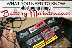 Pop Up Camper Battery Maintenance. Here's how to maintain your camper battery so it will last you several years. and won't leave you stranded without power on your camping trips! Mini Camper, Popup Camper, Truck Camper, Jayco Pop Up Campers, Rv Campers, Pop Up Princess, Pop Up Trailer, Rv Trailer, Camping Organization