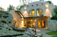 "Although not a true ""Earthship,"" I love the combination of earth sheltered/off grid as well as beauty. Just because it is functional doesn't mean it has to be ugly! Natural Building, Green Building, Building A House, Adobe Haus, Earth Sheltered Homes, Earth Bag Homes, Plans Architecture, Sustainable Architecture, Residential Architecture"