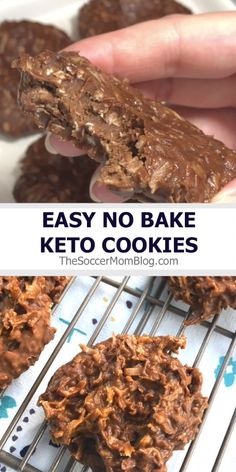 Recipes Snacks Videos Guilt-free chocolate for the win! These easy keto no bake cookies are one of our most popular recipes ever! They're delicious and low carb to satisfy that sweet tooth without all the sugar! Keto Cookies, No Bake Cookies, Low Carb Sweets, Low Carb Desserts, Easy Desserts, Health Desserts, Healthy Low Carb Recipes, Keto Recipes, Dinner Recipes