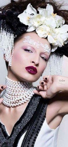 Elegante con perlas