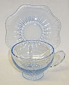 New Martinsville Blue RADIANCE CUP and SAUCER. Click on the image for more information.