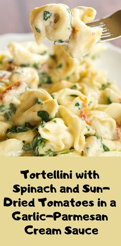 Tortellini With Spinach And Sun-Dried Tomatoes In A Garlic-Parmesan Cream Sauce Food Dinner Recipes Food Recipes Dinner Recipes Dinner Ideas Delicious Recipes Italian Dinner Recipes, Vegetarian Recipes Dinner, Vegan Recipes, Cooking Recipes, Delicious Recipes, Spinach Recipes, Easy Vegitarian Dinner Recipes, Meatless Dinner Ideas, Pasta Recipes For Dinner