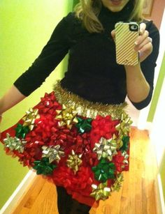Christmas Bow Skirt great for Ugly Sweater Parties sold on Etsy! @staticthreads Tacky Christmas, Christmas Hacks, Noel Christmas, All Things Christmas, Winter Christmas, Christmas Sweaters, Christmas Gifts, Christmas Costumes, Christmas Outfits