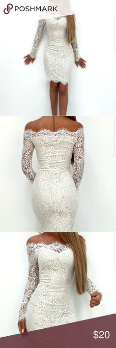 Beautiful New, white lace, off the shoulder dress. This is a gorgeous  dress! Its brand new, all lace, off the shoulder dress. It is fully lined. Boutique Dresses Mini