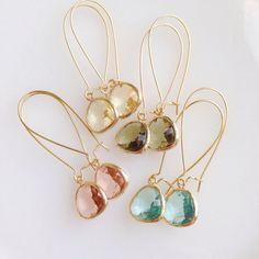Lauren Amos Designs - Aquamarine . Peach . Citrine . Olive - Dangle Jewel Earrings. Gold Earrings
