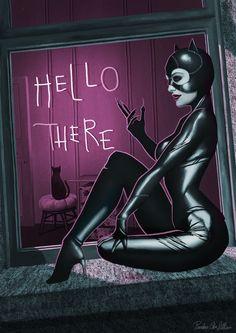Catwoman - Hello There!, Pandora Von Lillian on ArtStation at https://www.artstation.com/artwork/OwGkw - More at https://pinterest.com/supergirlsart