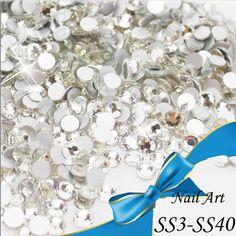 Venta al por mayor! ss3-ss40 Crystal decoraciones la parte posterior plana para uñas piedras del Hotfix pegamento en 3d del arte del rhinestone diy