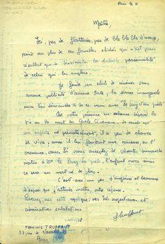 Letter from François Truffaut to Jean Cocteau.