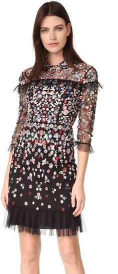 Needle & Thread Posy Dress  A formfitting Needle & Thread dress with multicolor floral embroidery.