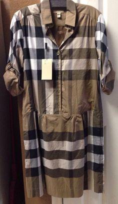 NWT- BURBERRY BRIT 100% Authentic Women's Plaid Check Dress Camel US Size 4 #BurberryBrit